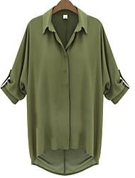 Mulheres Camisa Colarinho de Camisa Manga Longa Chifon Mulheres