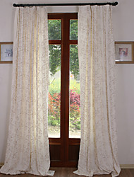 Two Panels Linen  Rayon Emboidery Panel Curtains Drapes White