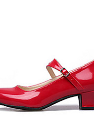 Women's Dance Shoes Heels Leatherette Low Heel Silver/Black/Red