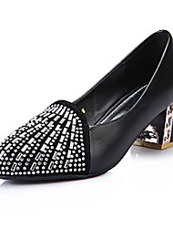 Women's Shoes Patent Leather Chunky Heel Heels/Pointed Toe/Closed Toe Heels Dress Black/White