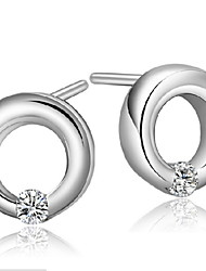 Hollow Round  Diamond  Sterling Silver Stud Earrings