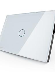 Livolo нас / UA стандартные 30s таймер задержки выключатель, кристалл стеклянную панель, 1Gang 1way, белый / черный цвет, VL-c301t-81/82