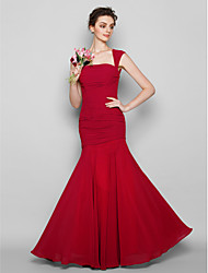 Lanting Bride® Floor-length Chiffon Bridesmaid Dress Trumpet / Mermaid Square Plus Size / Petite with Ruching