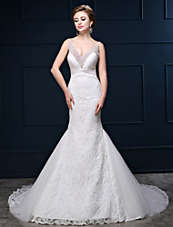 Robe de mariée trompette / sirène jolie arrière cour train v-neck dentelle tulle charmeuse avec perles