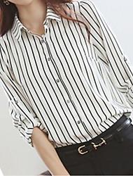Women's Formal Simple All Seasons Shirt,Striped Shirt Collar Long Sleeve White Medium