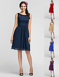 Homecoming Bridesmaid Dress Knee Length Chiffon Sheath Column Scoop Dress
