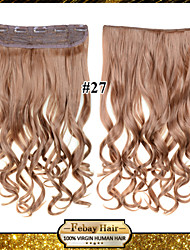 24inch 60cm 120G color 27# Clip in On Hair Extensions Wavy Clip On Hairpieces