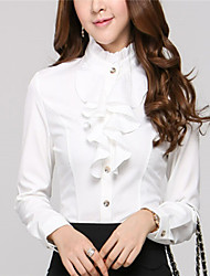 Women's Stand Blouse , Chiffon Long Sleeve