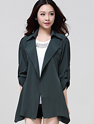 Women's Long Sleeve Slim  Large Size Trench Coat Cardigan , Casual/Work
