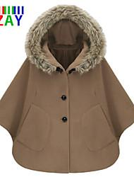 ZAY Women's Winter New Hoodies Batwing Sleeve Cape Trench Coat