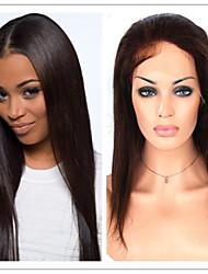 #1,#1B,#2,#4,120%-130% Density Glueless Brazilian Virgin Human Hair Silky Straight Front Lace Wigs For Black Women