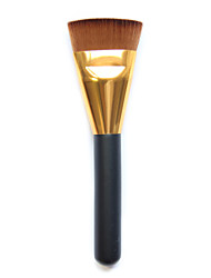 1pcs  Flat Makeup Brushes Contour Brush Foundation Brush Golden Nozzle And Brown Brush