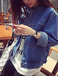 Women's Blue Denim Jacket , Casual Square Neck Long Sleeve Button
