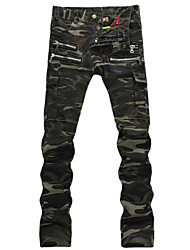 Men's Casual Camouflage Pockets Denim Biker Jeans Pants
