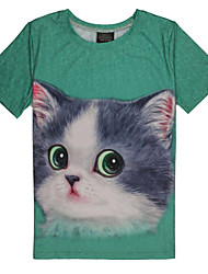 2015 Women's Summer High Quality Personality Leisure Pattern Space Cotton Cute 3D T-Shirt -—— Green Eyes Silly Cat