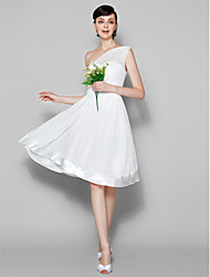 Knee-length Georgette Bridesmaid Dress - Ivory A-line One Shoulder