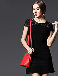 2015 Women Fashion Dresses High Quality Slim Lace Stitching Elegant Dress Casual Dress Elastic Absorb SweatZNZ719