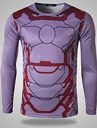 Men's Fashion Iron Man 3D Print Sports Long Sleeved Fast Drying T-Shirts