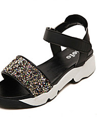 Women's Shoes PVC Flat Heel Comfort Sandals Casual Black/White