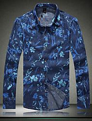 Men's New  long Sleeved Denim Floral Shirt M- 5XL