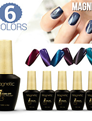 Azure 6Pcs/Lot 3D Magnetic Cat Eye Nail Gel Polish UV Gel Polish  48 Colors UV Gel (#92+#93+#95+#96+#97+#98)
