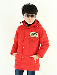 Boy's Letter Print Hoodie with Hat Long Cotton Padded