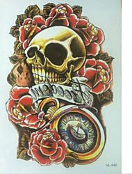 10 Pcs Red Rose Skull Temp Tattoo Stickers