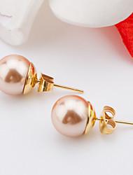 Damen Ohrring Edelstahl Künstliche Perle Stud Earrings