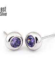 South Korea Fashion Silver Single Drill Round Stud Earrings R027