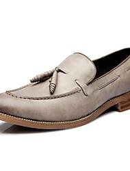 Oxfords ( Cuero , Negro/Almendra Tacón plano para Zapatos de hombre