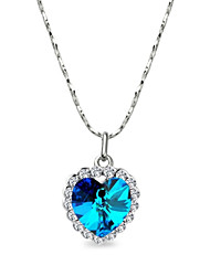 HKTC Heart Jewelry 18k White Gold Plated the Heart of Ocean Austrian Blue Crystal Pendant Necklace