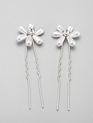 Women's Flower Girl's Rhinestone Alloy Imitation Pearl Headpiece-Wedding Special Occasion Hair Pin 2 Pieces