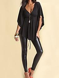 Damen Bluse  -  Quaste Acryl Kurzarm V-Ausschnitt
