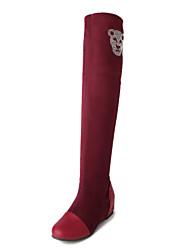 Calçados Femininos Sintético Rasteiro Modelos/Arrendondado/Bico Fechado Botas Ar-Livre/Social/Casual Preto/Azul/Marrom/Vinho