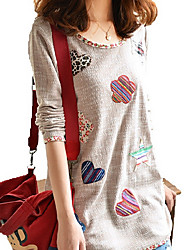 Mulheres Camiseta Decote Redondo Manga Longa Flor Algodão/Denim Mulheres