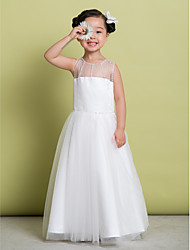 Lanting Bride A-line Floor-length Flower Girl Dress - Tulle Sleeveless Scoop with Beading