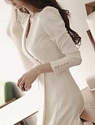 Women's Dresses , Cotton Blend/Viscose Casual/Work Long Sleeve K.M.S