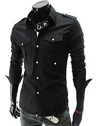 Мужской Однотонный Рубашка На каждый день / Для офиса / Для торжеств и мероприятий,Полиэстер,Длинный рукав,Черный / Красный / Белый /