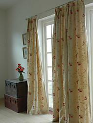 Deux panneaux panneau de broderie rideaux de la chambre des rideaux beiges