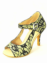 Customizable Women's Dance Shoes Latin/Salsa Lace Customized Heel Black/Green/Red