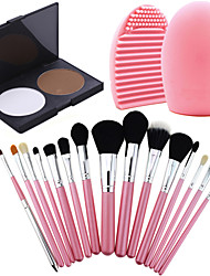 15Pcs Pro Cosmetic Make Up Brush Set Lipbrush Superior Soft+Face Pressed Powder Cake Oil Control+ Cleaning Tool Glove
