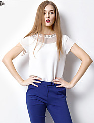 2015 spring and summer simple white chiffon shirt loose short-sleeved t-shirt lady HNY0714