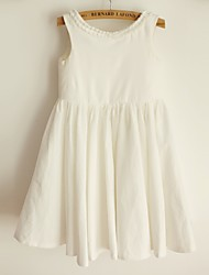 Princess Knee-length Flower Girl Dress - Cotton Scoop with Pleats