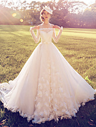 mingmenxinniang Ball Gown Wedding Dress Vintage Inspired Court Train Off-the-shoulder Lace with Flower