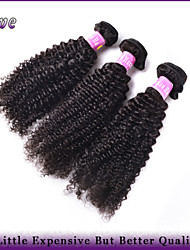 """3Pcs/Lot 10""""-28"""" Brazilian Virgin Hair Natural Black Color Kinky Curly Unprocessed Human Hair Weaves Dove Hair Products"""