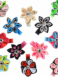 12 Pcs Hair Bows Kanzashi Pointed Round Petals Ribbon Flower Hair Clips Hairbows Clips Accessories Headwear AC014