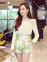 Mulheres Camisa Colarinho Chinês Manga Longa Renda Elastano/Poliéster Mulheres