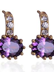 18 k gold plating inlay zircon earrings
