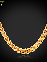U7® Men's Gold Chain 22'' 18K Stamp Gold Plated Hip Hop Men Jewelry Wheat Spiga Link Chain Necklace