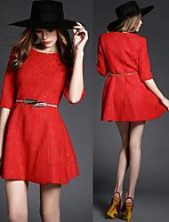 Women's Round Dresses , Knitwear Sexy/Beach/Casual/Cute/Party ½ Length Sleeve Sara